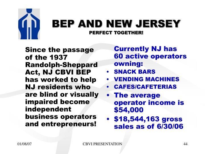 Since the passage of the 1937 Randolph-Sheppard Act, NJ CBVI BEP has worked to help NJ residents who are blind or visually impaired become independent business operators and entrepreneurs!