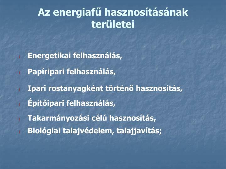 Az energiafű hasznosításának területei