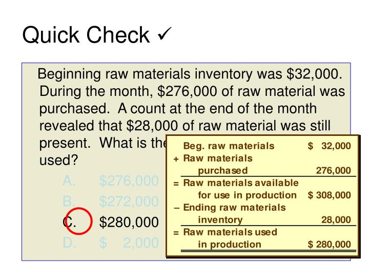Beginning raw materials inventory was $32,000.  During the month, $276,000 of raw material was purchased.  A count at the end of the month revealed that $28,000 of raw material was still present.  What is the cost of direct material used?