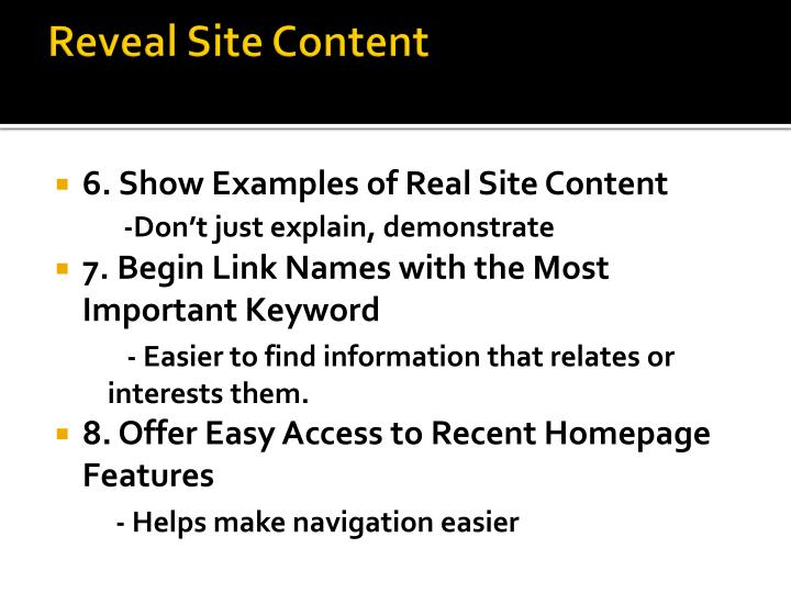 Reveal Site Content