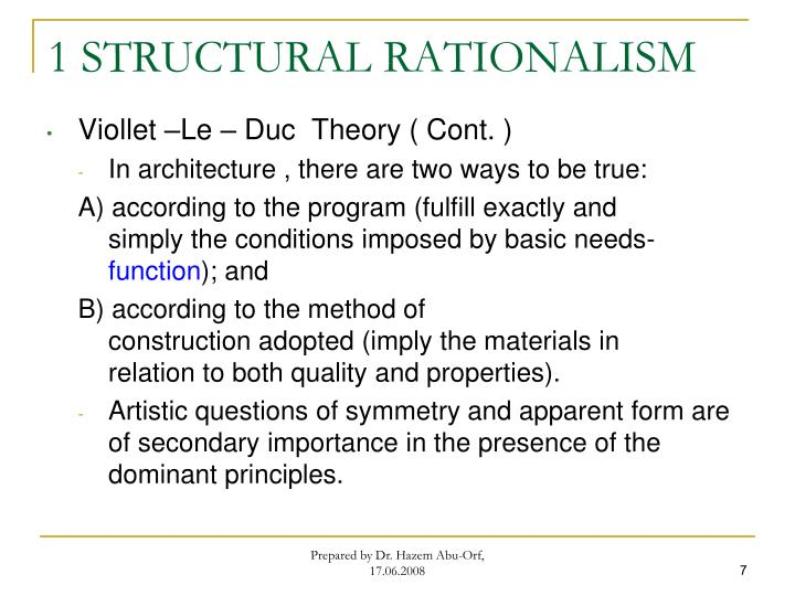 1 STRUCTURAL RATIONALISM