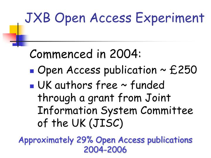 JXB Open Access Experiment