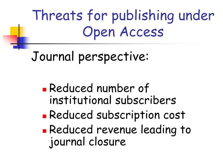 Threats for publishing under Open Access