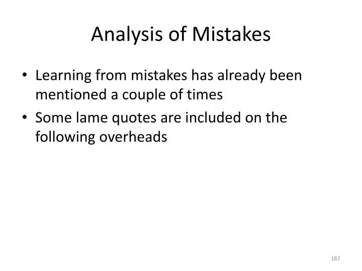 Analysis of Mistakes