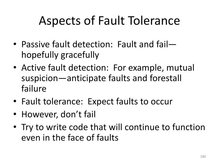 Aspects of Fault Tolerance