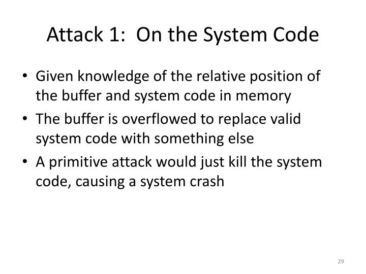 Attack 1:  On the System Code