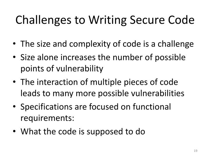 Challenges to Writing Secure Code