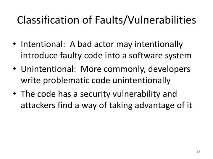 Classification of Faults/Vulnerabilities
