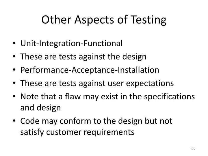 Other Aspects of Testing