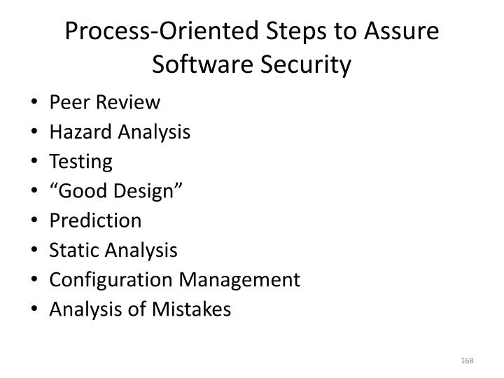 Process-Oriented Steps to Assure Software Security
