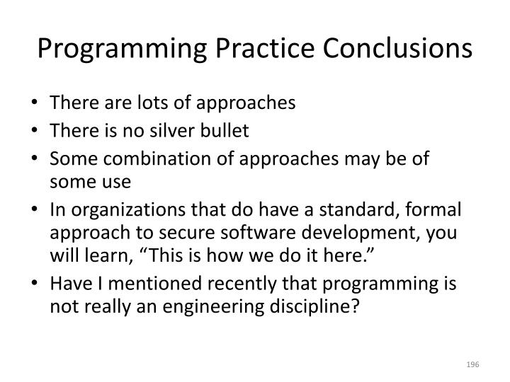 Programming Practice Conclusions