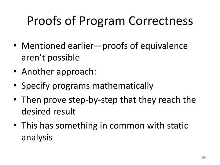 Proofs of Program Correctness