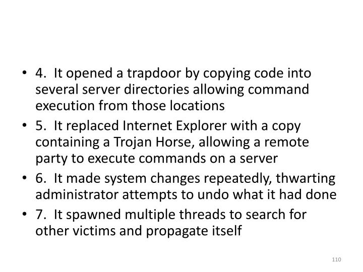 4.  It opened a trapdoor by copying code into several server directories allowing command execution from those locations