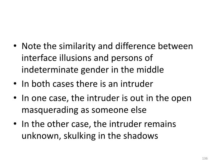 Note the similarity and difference between interface illusions and persons of indeterminate gender in the middle