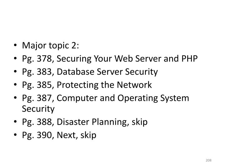 Major topic 2: