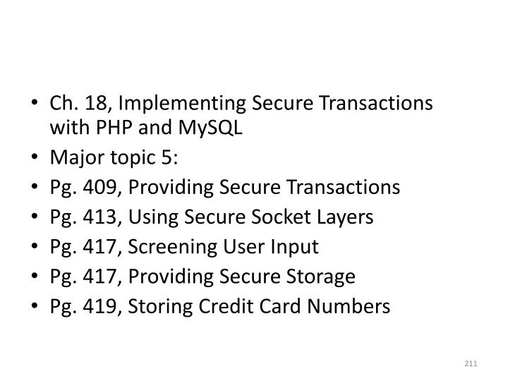 Ch. 18, Implementing Secure Transactions with PHP and