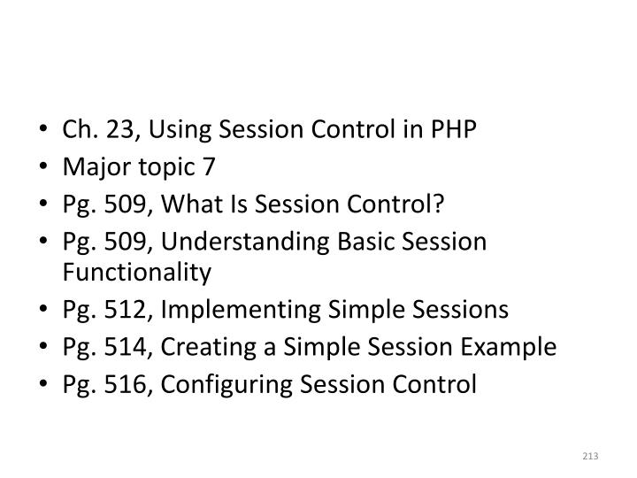 Ch. 23, Using Session Control in PHP
