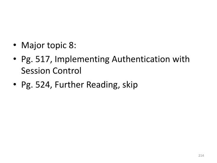 Major topic 8: