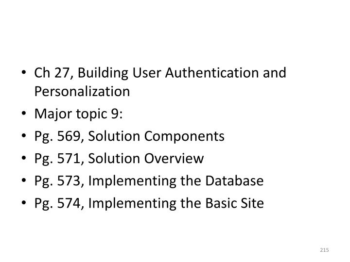 Ch 27, Building User Authentication and Personalization