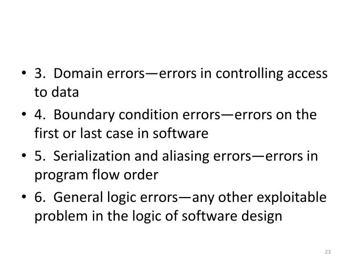 3.  Domain errors—errors in controlling access to data