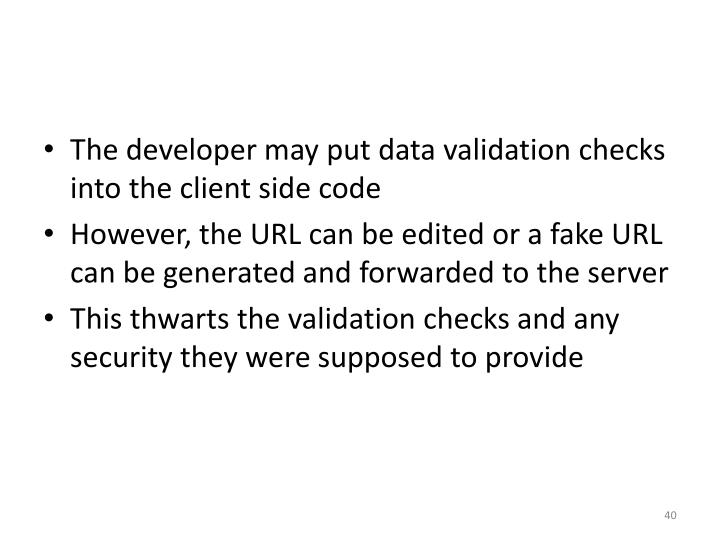 The developer may put data validation checks into the client side code