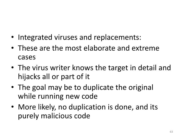 Integrated viruses and replacements: