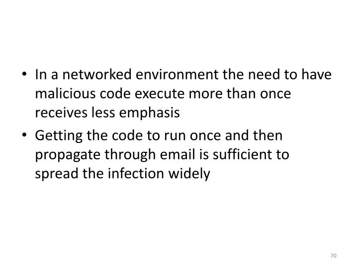 In a networked environment the need to have malicious code execute more than once receives less emphasis