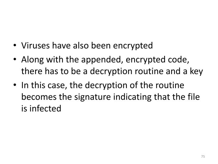 Viruses have also been encrypted