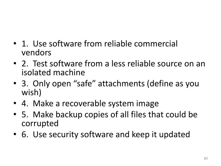 1.  Use software from reliable commercial vendors