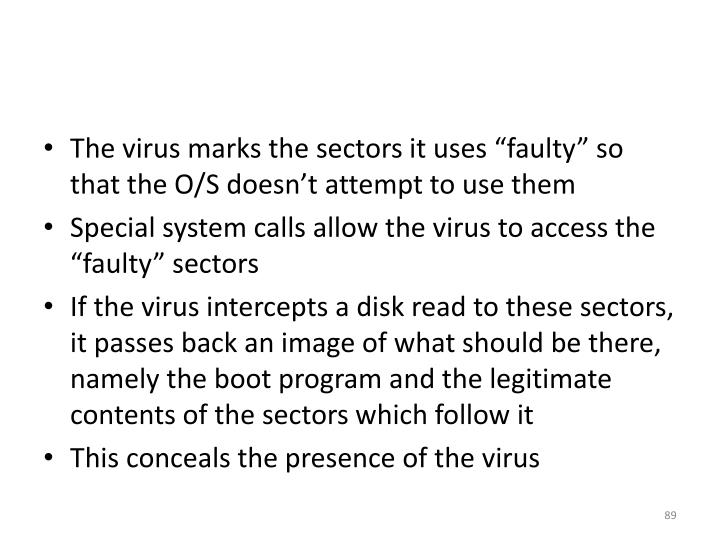 "The virus marks the sectors it uses ""faulty"" so that the O/S doesn't attempt to use them"