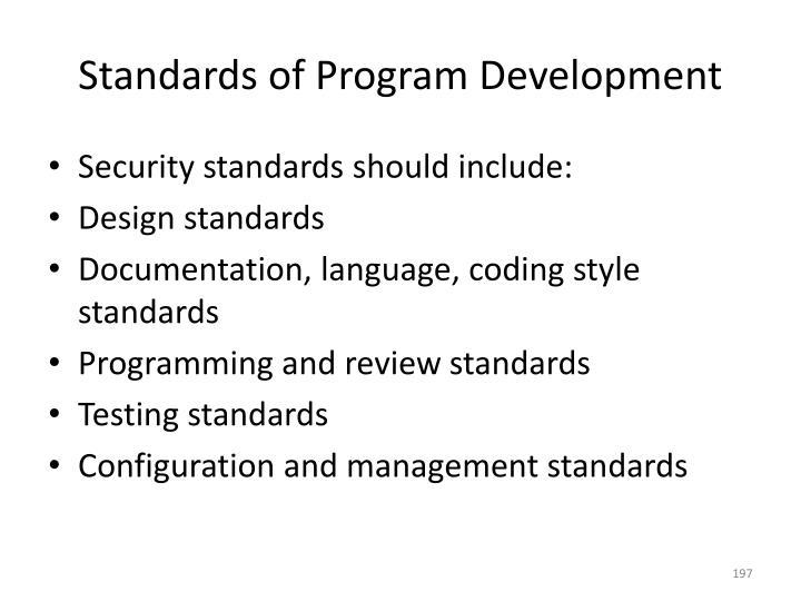 Standards of Program Development