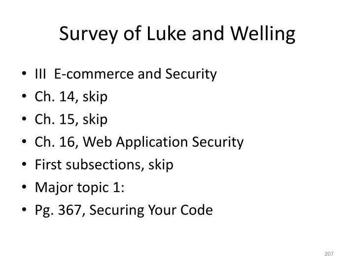 Survey of Luke and Welling