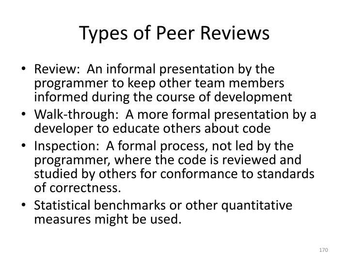 Types of Peer Reviews