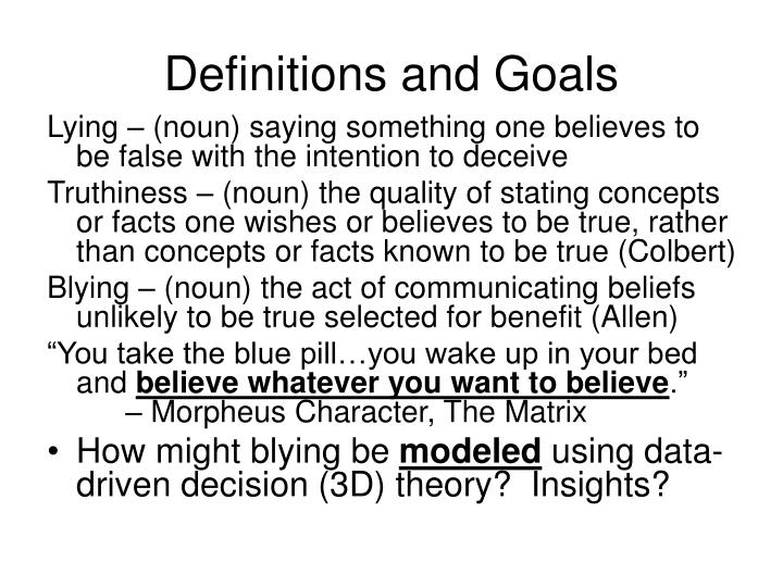 Definitions and Goals
