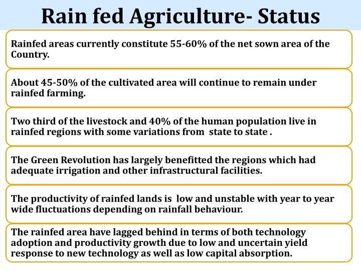 Rain fed Agriculture- Status