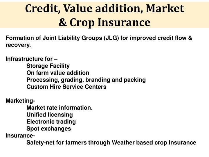 Credit, Value addition, Market