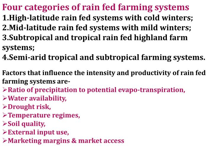Four categories of rain fed farming systems