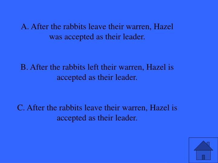A. After the rabbits leave their warren, Hazel was accepted as their leader.