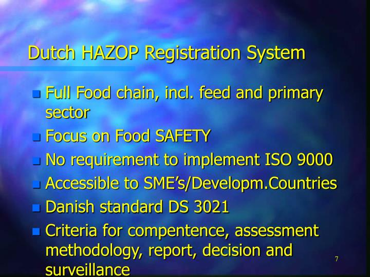 Dutch HAZOP Registration System
