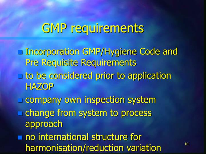 GMP requirements
