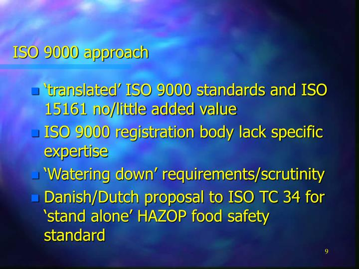 ISO 9000 approach