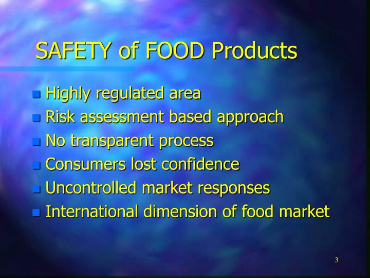SAFETY of FOOD Products