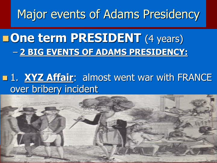 Major events of Adams Presidency