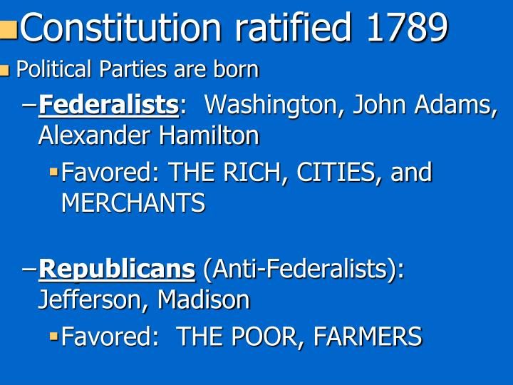 Constitution ratified 1789
