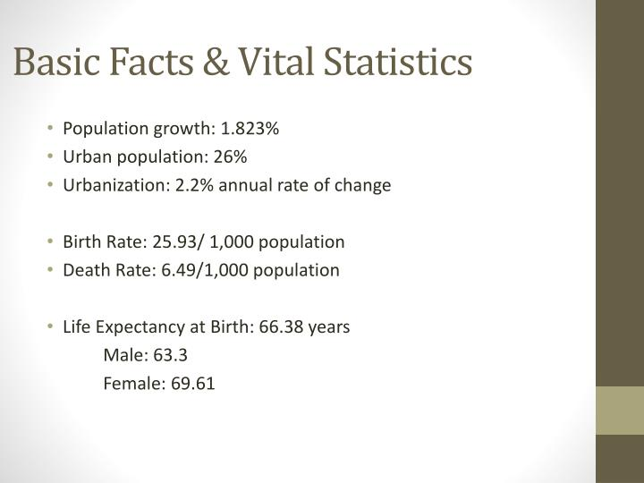 Basic facts vital statistics