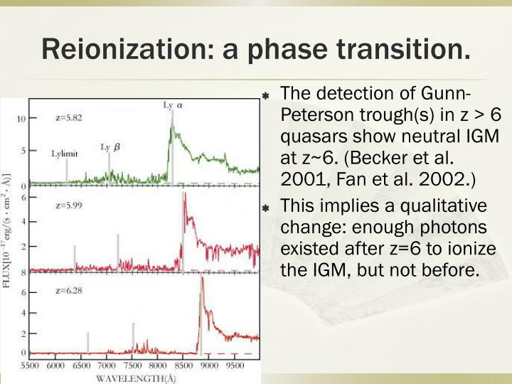Reionization: a phase transition.