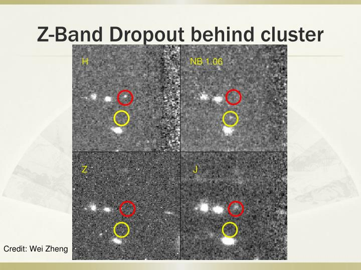 Z-Band Dropout behind cluster