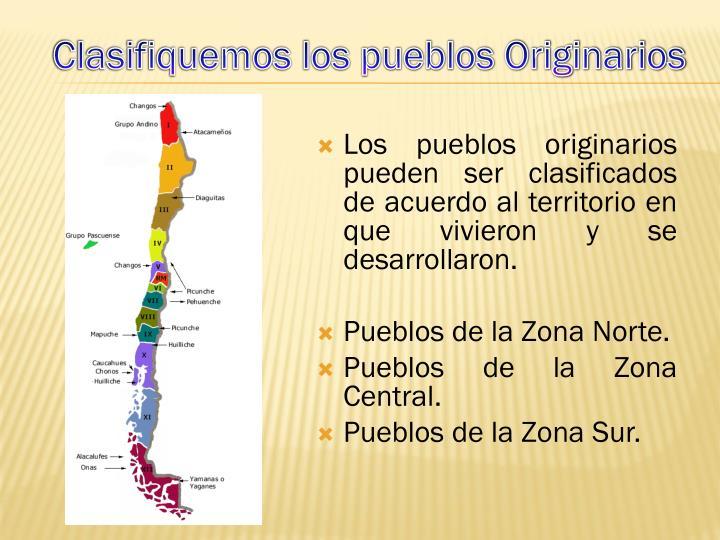 Los pueblos originarios pueden ser clasificados de acuerdo al territorio en que vivieron y se desarrollaron.