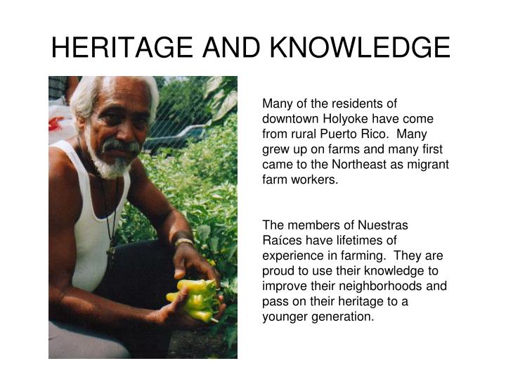 HERITAGE AND KNOWLEDGE