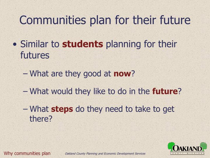 Communities plan for their future